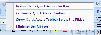Right Click the Quick Access Toolbar