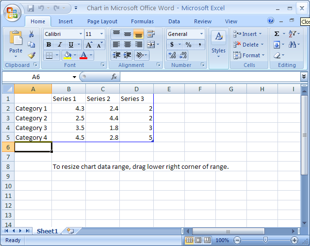 Then click the Close button on the Excel worksheet and return to Word.