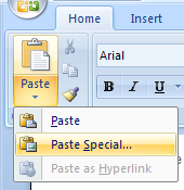 Paste Special: a more complete set of paste options