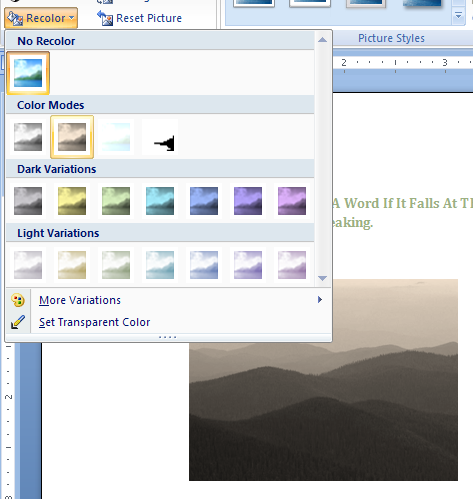 Click an option in 'Color Modes' to apply a color type: