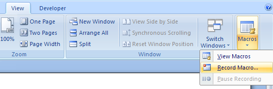 Then click View Macros on the menu.