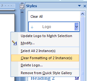 Remove all instances of the style in the current document