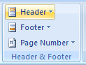 Then click the Header or Footer button