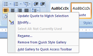 Right-click the style you want to remove