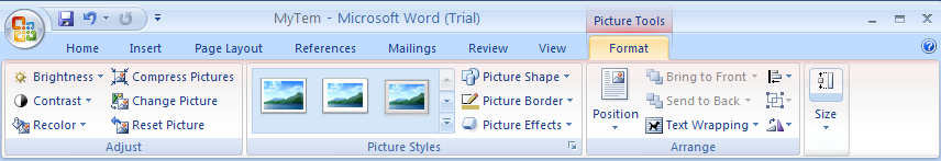 Then click the Format tab