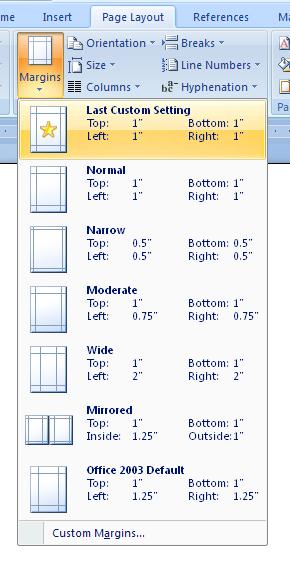 Select Standard Margins