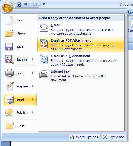 Then click E-mail as PDF Attachment, or E-mail as XPS Attachment.