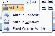 Then click the AutoFit button in the Cell Size group