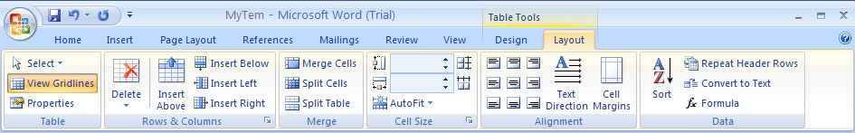Then click the Layout tab under Table Tools