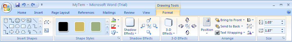 Then click the Format tab under Drawing or Text Box Tools.