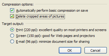 Select or clear the 'Delete cropped areas of pictures' check box to reduce file size.