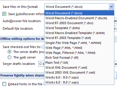 how to set image format default in word