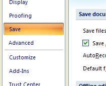 In the left pane, click Save.