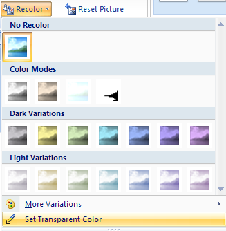 Click the Recolor button, and then click Set Transparent Color.