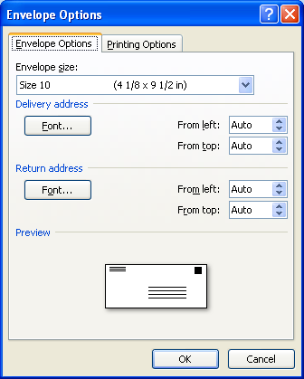 Then select the envelope options