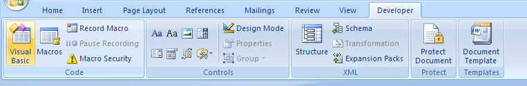 Click the Visual Basic button to open the Visual Basic window.