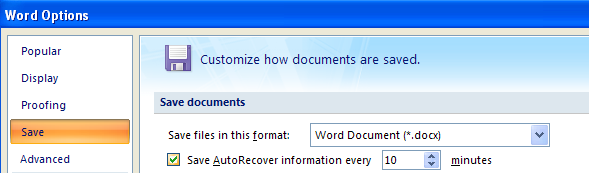 Make sure the check box is selected for Save AutoRecover information...