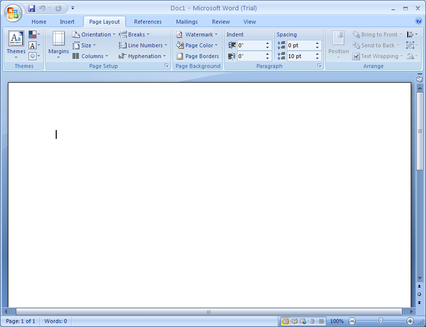 When you start Word, a program window opens, displaying a blank document, where you can begin working immediately.