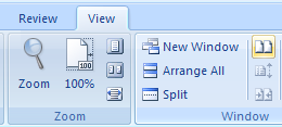 In the Window group, Click View Side By Side to compare two documents vertically.