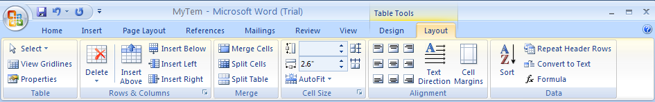 Click the Layout tab under Table Tools.