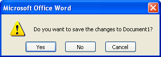 If you have made changes, a dialog box opens asking if you want to save changes. Click Yes to save any changes, or click No to ignore your changes.