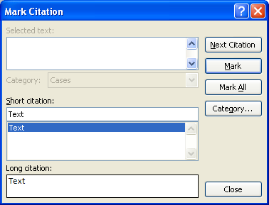 You can choose a short and long citation form by editing the text in the corresponding text fields.