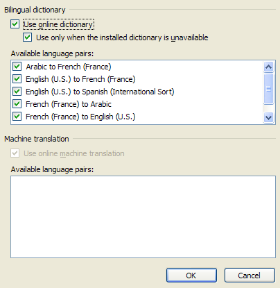 Click Translation options and select the look-up options and then click OK.
