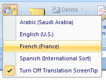 Then click the language the word will be translated to.