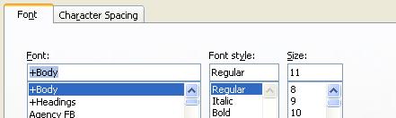 Click the Font tab.
