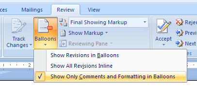 Use Balloons or Reviewing Pane