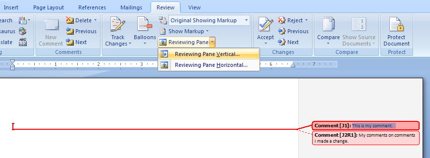 Then click Reviewing Pane Vertical or Reviewing Pane Horizontal.