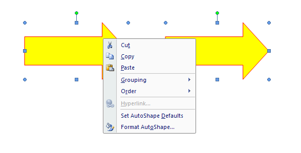 Use the shortcut menu to select Group related commands