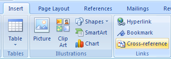 Then click Link  Cross-Reference to display the Cross-reference dialog box.