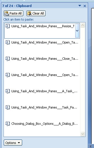 Word 2007 Task List