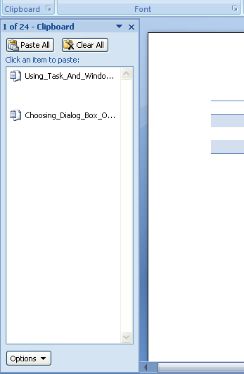 Using Task and Window Panes