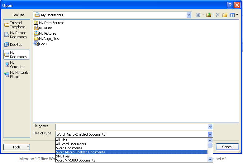 what is the file extension for word 2010 documents