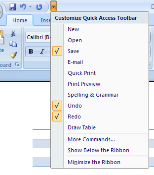 You can customize the toolbar by adding command buttons or groups to it.