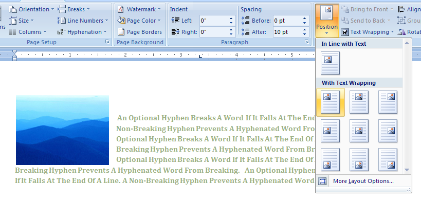 Wrap text tightly around an object or picture wrap text for Table th word wrap