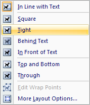 how to make text wrap in word 2007
