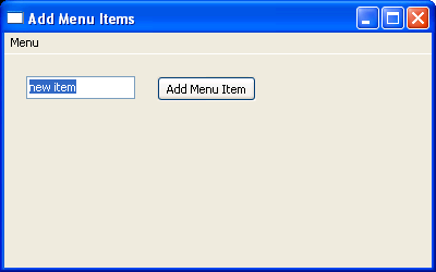 Add item to menu