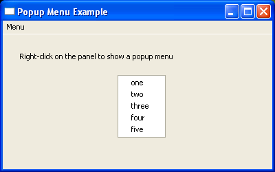 Create popup menu