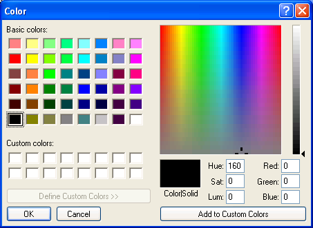 Get color from color dialog