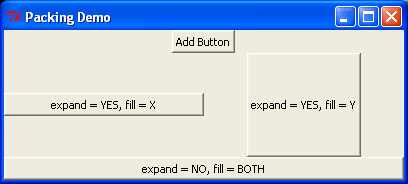 Pack layout manager demonstration.