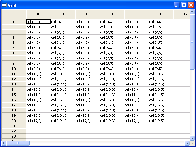 Set value for grid cell