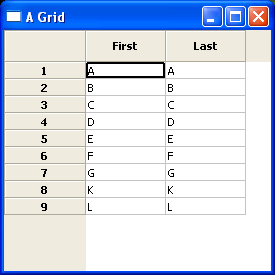 Simple grid : table « wxPython « Python Tutorial