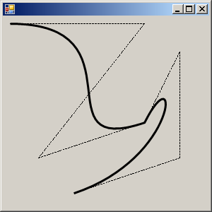 Draw the Bezier curve and its outline