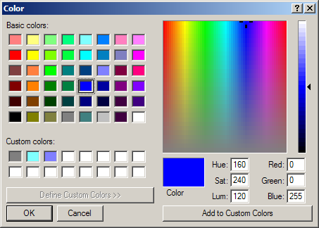 Set ColorDialog properties