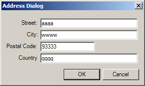 Dialog with properties
