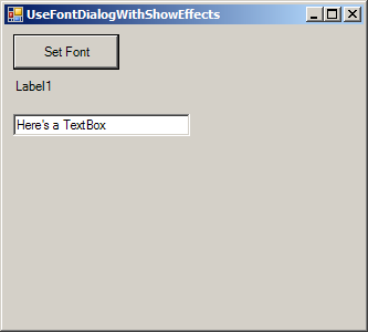 Font dialog showing effects