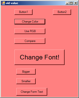 Change Form Size, Text, Background Color and button font
